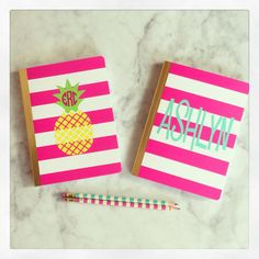 Hey, I found this really awesome Etsy listing at https://www.etsy.com/listing/234320303/personalized-notebook-pink-white-stripe