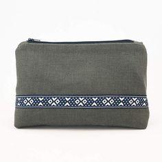 Linen Cosmetic Zipper Pouch   Khaki Zipper Bag  Bohemian
