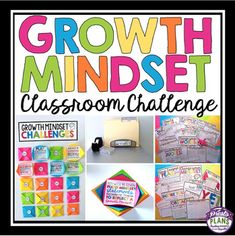 """Help students develop a growth mindset with this classroom challenge that includes 20 engaging activities. The activities are meant to encourage resilience, hard-work, dedication, and improvement. Teachers set up the """"Growth Mindset Classroom Challenge"""" bulletin board display that includes 20 hidden activity prompts."""