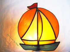 Sailboat at Sunset Stained Glass Night Light by HeirloomsbyTesa, $35.00
