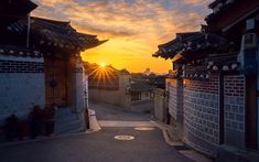 Download wallpapers Seoul, shoot, morning, Korean architecture, houses, South Korea