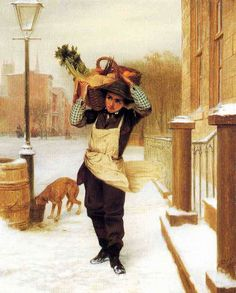 """Delivery Boy"" by John George Brown, 1863   --nice sleeve protectors and apron over coat"