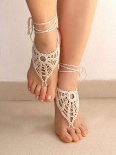The Lasunka Crochet Ivory Barefoot Sandals are Delicate #photoshoots #fashion trendhunter.com