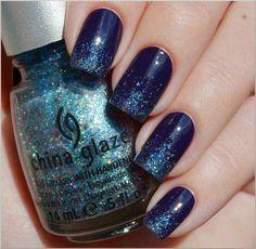 Azul escuro com gliter