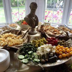 Greek theme party appetizer table