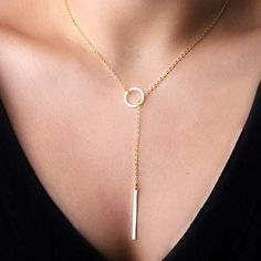 Gold Plated Chain Circle Necklace //  $ 7.49 //  See details here: http://fashionnecklace.org/product/hot-fashion-gold-plated-metal-chain-bar-circle-lariat-necklace-long-strip-pendant-necklaces-jewelry/ //    #fashion #style #musthave #jewelry #lady #shopping #glam #vintage #pearl #necklace