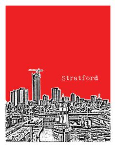 Stratford London England Skyline Poster Art Print  Image Version 10