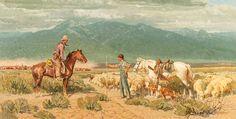 Jackson Hole Art Auction, Robert Lougheed, Open Range Encounter, oil, 30 x 60. Estimate: $40,000-$60,000.