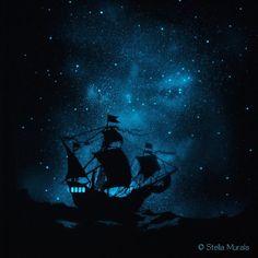Glow in the Dark Star Poster - Caravel - Ship on the Ocean for Boys Room Boy Room, Kids Room, Wall Murals, Wall Art, Wallpaper Murals, Dark Paintings, Glow Paint, Dark Star, My New Room