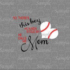 Mom Baseball Heart SVG, DXF, EPS, PNG Digital File