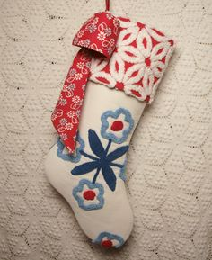 Red White and Blue Flowers Vintage Chenille Christmas Stocking