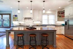 Kitchen:Inspiring Home Depot Industrial Kitchen Design White Kitchen Cabinet Grey Kitchen Island Wooden Kitchen Countertop Round Wooden Bar Stool White Ceiling Lighting Let's Get to Know More about Industrial Kitchen Design Grey Kitchen Island, Kitchen Island With Seating, Kitchen Island Lighting, Island Table, Gray Island, Kitchen White, Island Bar, Block Island, White Pantry
