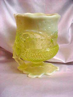 Mosser Glass Vaseline Opalescent Acorn Spooner