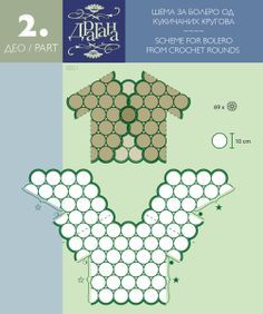 Schemes: how to join crochet triangular parts/granny squares/hexagons/rounds for a nice garment
