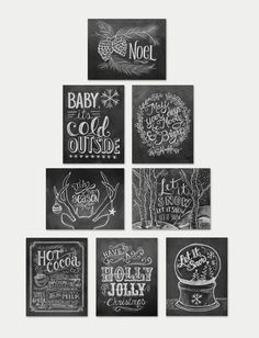 This unique, holiday boxed note card set features 8 chalkboard note card designs: Noel Baby It's Cold Outside May Your Days Be Merry & Bright Tis The Season Woodland Let It Snow Hot Cocoa Recipe Have