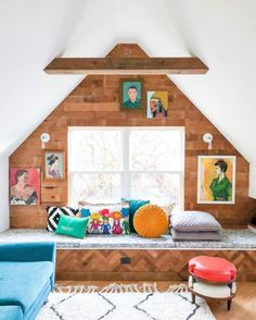 Eclectic Home Tour of Home Ec Interior Design - Love the natural wood shiplap in this attic playroom and the vintage portrait gallery wall Painted Interior Doors, Wood Interior Design, Painted Doors, Eclectic Gallery Wall, Eclectic Decor, Ec 3, Blogger Home, Green Cabinets, Attic Playroom