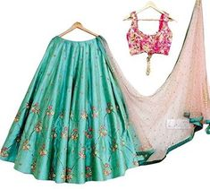 Buy Women's Silk Lehenga Choli - Size online in India at best price. Navy Blue Color, Beige Color, Pink Color, Lehenga Choli Online, Silk Lehenga, Yellow Color Combinations, Cute Embroidery, Embroidery Patches, Embroidered Silk