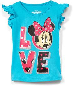 A beloved mouse inspires smiles, and bold-and-bright hues teem with charm in this soft cotton tee. Black Kids Fashion, Angel Sleeve, Bnf, Love S, Cotton Tee, Minnie Mouse, Aqua, Tees, Disney