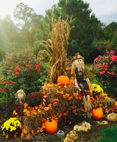 Fall display pumpkins, corn stalks, hay, fall leaf garland, and scarecrows. Outside Fall Decorations, Fall Yard Decor, Yard Decorations, Fall Festival Decorations, Outdoor Halloween, Fall Halloween, Halloween Halloween, Vintage Halloween, Halloween Makeup