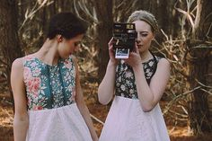 Quirky bridesmaids dresses. The groom would wear a fitted blue suit and a bow tie. How hipster.