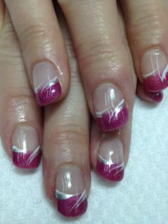 Love these fun pink French gel nails!! And swished accents ties the whole look together!! Of course, all non-toxic and odorless!