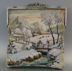 micro petit point purse has a most unusual winter scene front and back
