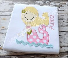 Custom Girly Girls Mermaid T-Shirt - Personalized Shirt - Applique Embroidery - Toddler, Girl, Kids Mermaid in the Sea
