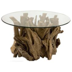 Shop our Driftwood Glass Top Round Cocktail Tables sale. This gorgeous round coffee table will add a rustic, natural touch to any design. Natural, unfinished teak driftwood sculpted into a sturdy coctail table with a clear glass top.