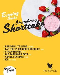 Settle in this afternoon with is delicious Strawberry Shortcake Shake recipe. All the power of dinner with all the taste of dessert! Protein Shake Recipes, Smoothie Recipes, Healthy Recipes, Smoothies, Forever Living Aloe Vera, Forever Aloe, Easy Slimming World Recipes, Old Fashion Oats, Forever Living Products