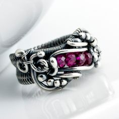 Reserved - Fine Silver Ring - Pink Ruby Ring - July Birthstone Ring Lily