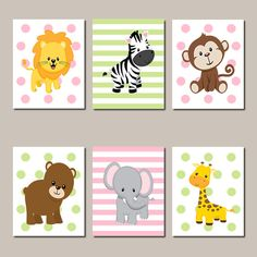 Girl Jungle Animals Nursery, Safari Nursery Decor, Baby Girl Nursery Wall Art, Prints Or Canvas, Zoo Animal Nursery Pictures, Set of 6