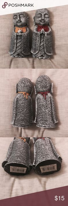 Price drop!🌼 Jizo Japanese Monk statues Protectors of children and mothers. Amazing condition. They have been sitting on a shelf for a few months. Good weight to them. They feel exactly like stone but are made out of good quality Resin. 🎎 Selling them as a set. :) Other