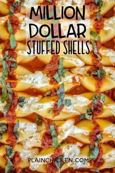 Million Dollar Stuffed Shells - hands down the BEST stuffed shells EVER! Jumbo shells stuffed with cottage cheese, cream cheese, sour cream, parsley, and mozzarella cheese. Bake in a quick meat sauce made with Italian sauce and jarred spaghetti sauce. Can make in advance and refrigerate or freeze for later. #pasta #casserole #italian #freezermeal