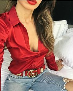 Red&Denim ❤ via @fashion4lifestyles ❤ 📷 @jasmine_tosh 🔝👌✔ ➖➖➖➖➖➖➖➖➖➖➖ 👉 For shopping in bio 👆 #gucci #red #denim #jeans #rippedjeans #redshirt #lips #redlipstick #trendy #fansy #sexy #hot #chic #casual #streetstyle #fashionboxstyle #fashion #fashionblogger