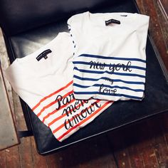 """madewell et sézane, july 2015: """"paris mon amour"""" and """"new york my love,"""" limited-edition, striped t-shirts. #madewellxsezane"""