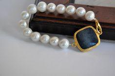 Freshwater Pearl and lapis  Jade Bracelet