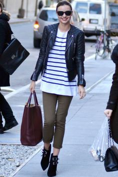5 style pairings that always go well together: Miranda Kerr in stripes and leather.