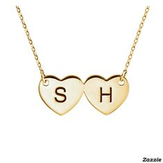 14 Karat Gold Double Heart Initial Necklace #initial #necklace