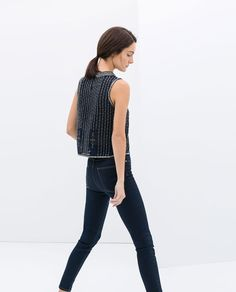 ZARA - NEW THIS WEEK - SLEEVELESS EMBROIDERED BLOUSE