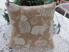 Plump Easter Bunny Burlap Pillow, Happy Easter Decor 12Et by THISPLUSTHAT on Etsy