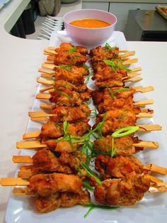 Chicken Satay Skewers with Peanut Dipping Sauce #canapes