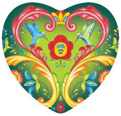 Add a touch of Europe with this Scandinavian Rosemaling Design Heart magnet. Makes for a great thank you gift or house warming present. Or simply as a way to say I Love You to those close to you. - Ap