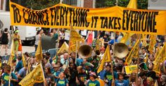 An estimated 400,000 people flooded the streets of New York City on Sunday for the historic People's Climate March, billed as the largest demonstration of its kind in history, organized by more than 1,500 organizations including indigenous, faith, labor, environmental justice, social justice, youth, and climate activism groups. The march was at least four times the size of pre-march estimates, which stood at 100,000.