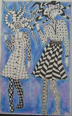 Yvonnes ART- She used a template for the shape of the women and started doodling...Great!
