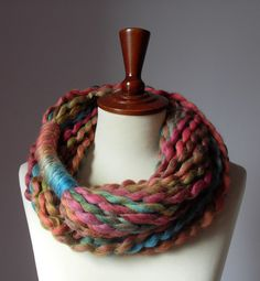 Infinity Scarf Fall Colors Brown Pink Orange Blue - Chunky - Accessories - Long - MINI LOOP SCARF $45