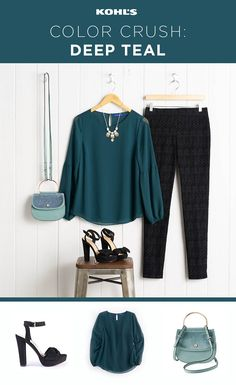 Winter is the perfect season to jump into our favorite new color: deep teal. You'll be ready to rock the trend at all of your holiday parties, especially this sleeve-detail blouse and gorgeous textured bag. Shop the deep teal trend at Kohl's. Winter Outfits For Work, Fall Outfits, Casual Outfits, Cute Outfits, Fashion Outfits, Work Outfits, Women's Fashion, Business Professional Outfits, Business Outfits