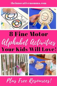Fine motor and alphabet skills are critical to early childhood development. Check out these fun activities for preschool and kindergarten that will have your kids forget they are learning! PLUS get access to my FREE Early Childhood Resource Library! Fine Motor Activities For Kids, Motor Skills Activities, Alphabet Activities, Literacy Activities, Preschool Activities, Preschool Prep, Dementia Activities, Preschool Learning, Physical Activities
