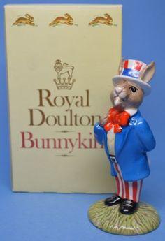 Royal-Doulton-Bunnykins-Figurine-Uncle-Sam-Bunnykins-DB50-with-Box