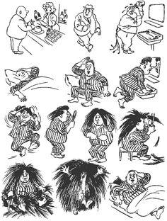 Hair Remedy. Vintage cartoons by the Danish artist Herluf Bidstrup.