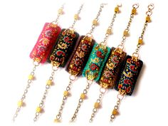 """Bracelet marron bohème brodé suzani bijou textile ethnique original ouzbek """"SûzanEH!"""" : Bracelet par myrifik"""